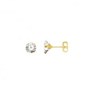 Boucles d'oreilles Carador solitaire oxyde de zirconium 5 mm or jaune 375/000