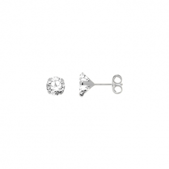 Boucles d'oreilles Carador solitaire oxyde de zirconium 5 mm or blanc 375/000