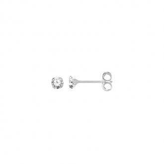 Boucles d'oreilles Carador solitaire oxyde de zirconium 3 mm or blanc 375/000