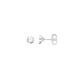 Boucles d'oreilles Carador solitaire oxyde de zirconium 6 mm or blanc 375/000