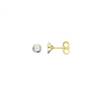 Boucles d'oreilles Carador solitaire oxyde de zirconium 6 mm or jaune 375/000