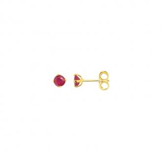Boucles d'oreilles Carador solitaire rubis or jaune 375/000