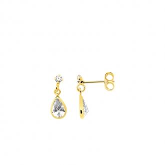 Boucles d'oreilles pendantes Carador poire en or jaune 375/000 et oxyde de zirconium