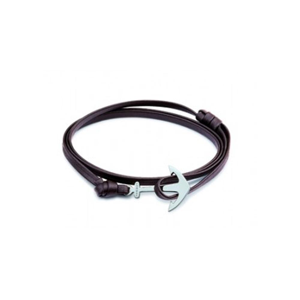 Bracelet Phebus cuir marron et fermoir acier ancre 35-0850