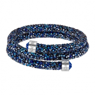 Bracelet double jonc Swarovski Bangle bleu 5237752