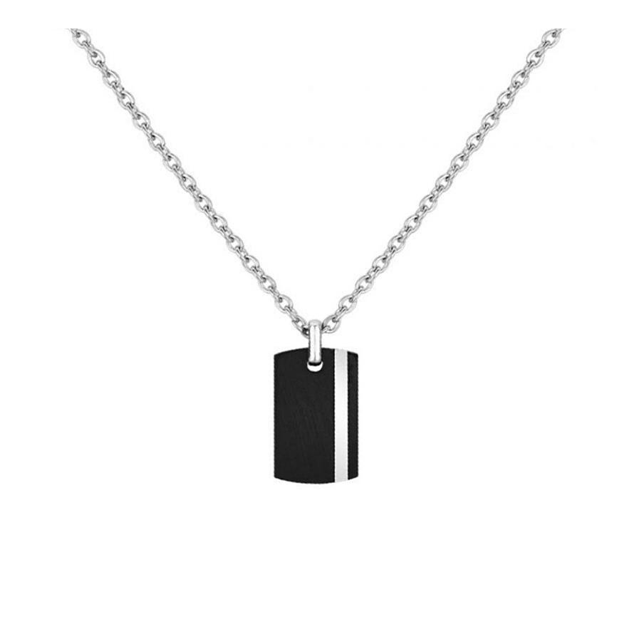 b8422010712 Collier Phebus acier avec plaque céramique noire 72-0036 pour HOMME