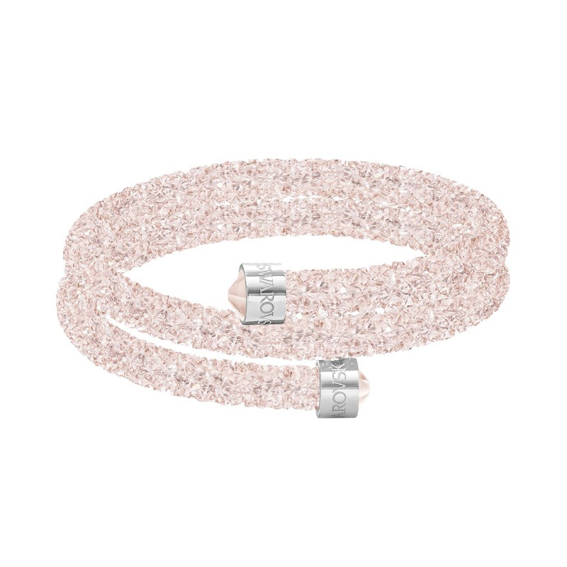 Bracelet Jonc double Swarovski Crystaldust rose pale 5273640. Loading zoom