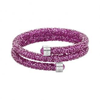 Bracelet Jonc double Swarovski Crystaldust Fuchia 5292449