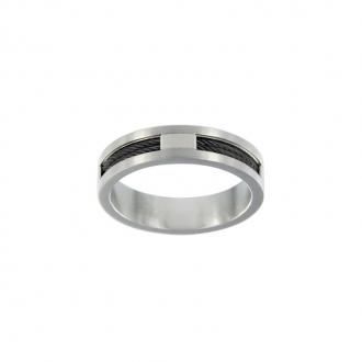 Bague Phebus acier et cable noir 15/0262-N