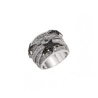 bague Thierry Mugler acier et oxydes de zirconium noirs et incolores T22138ZN50