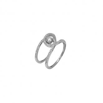 Bague Silver Pop Argent 925/000 double anneau croisé