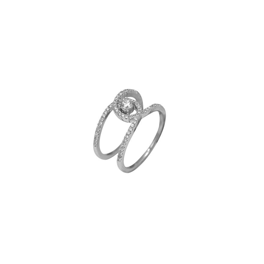 9be55fb993e Bague Silver Pop Argent 925 000 double anneau croisé pour FEMME