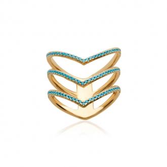 Bague Carador triple anneau V plaqué or et turquoise