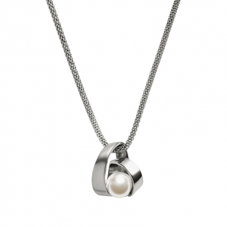 Collier Skagen Agnethe acier et perle blanche SKJ0749040