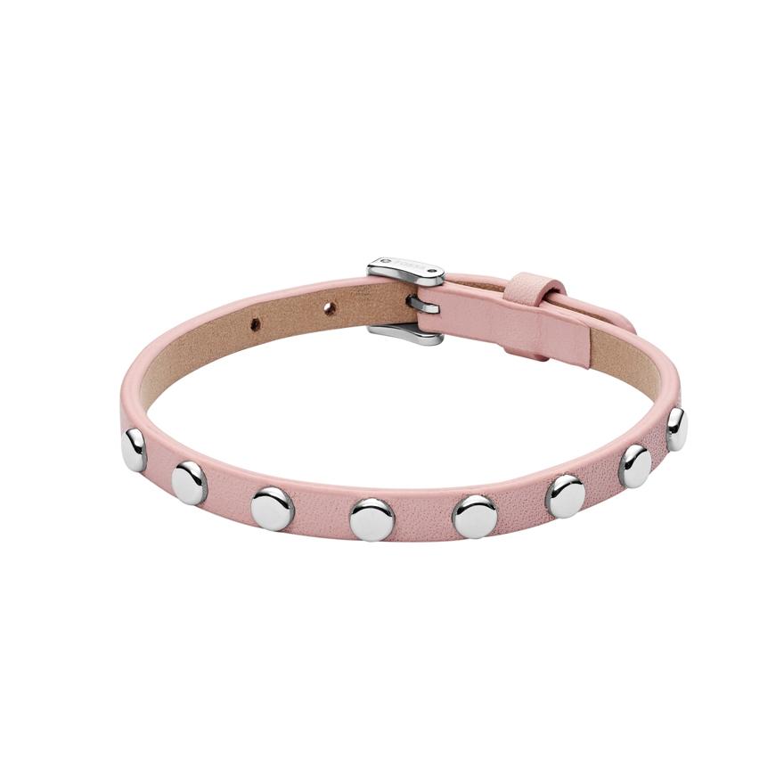 Bracelet Fossil cuir rose et acier JF02569040