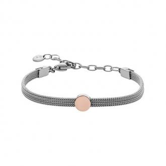 Bracelet Femme Skagen Elin maille acier argent et doré rose SKJ0956998