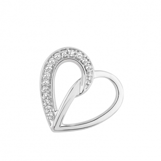 Collier Carador coeur or blanc 375/000 et diamant