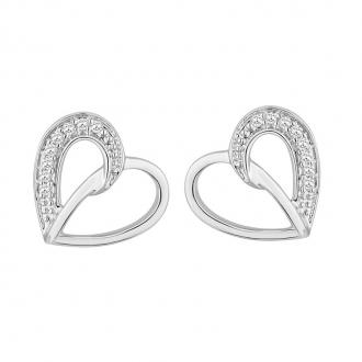 Boucles d'oreilles Carador coeur en or blanc 375/000 et diamant