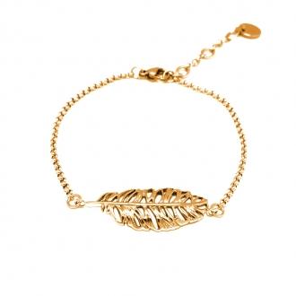 Bracelet Amporelle motif plume en acier doré G-BST2090_IPG