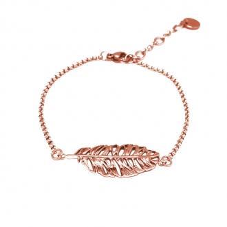 Bracelet Amporelle motif plume en acier doré rose GBST2090RG