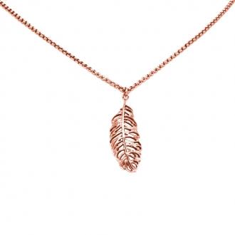 Collier Amporelle chaine et pendentif plume en acier doré rose NST1292RG