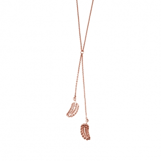 Collier Amporelle double pendentif plume en acier doré rose NST1384RG