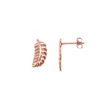 Boucles d'oreilles Amporelle motif plume en acier argenté G-EST1470_IPR