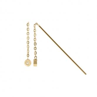 Boucles d'oreilles pendantes Amporelle acier doré WB650/A-IPG