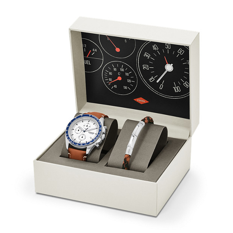 coffret montre et bracelet fossil ch3090set pour homme
