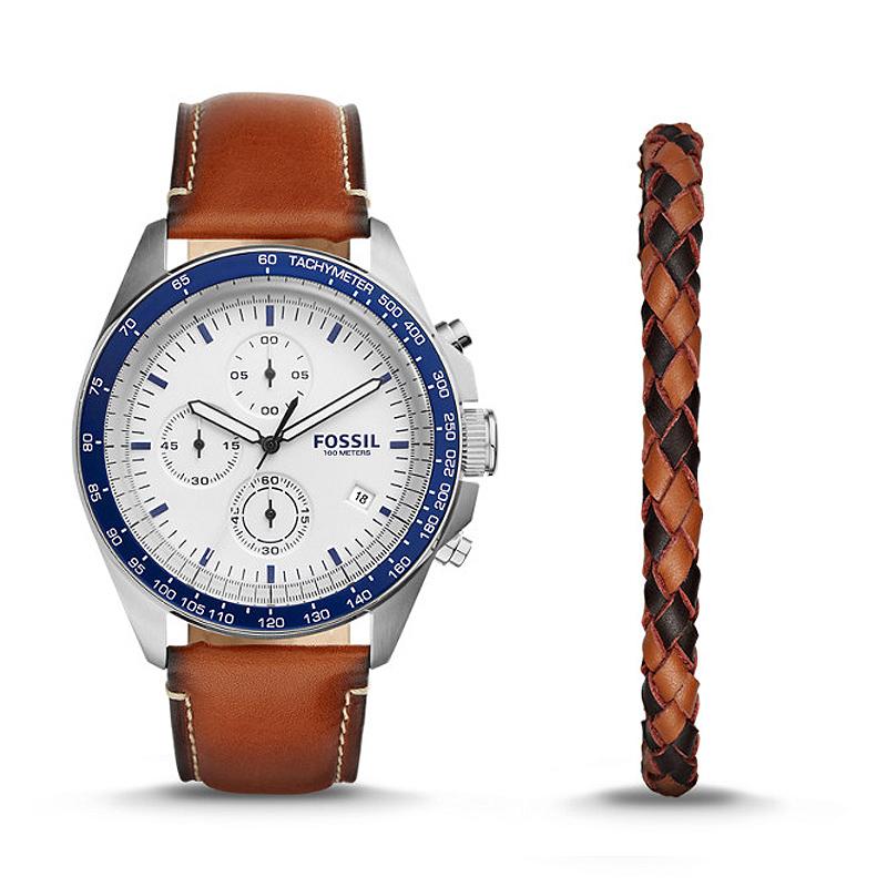 coffret montre et bracelet fossil ch3090set pour homme. Black Bedroom Furniture Sets. Home Design Ideas