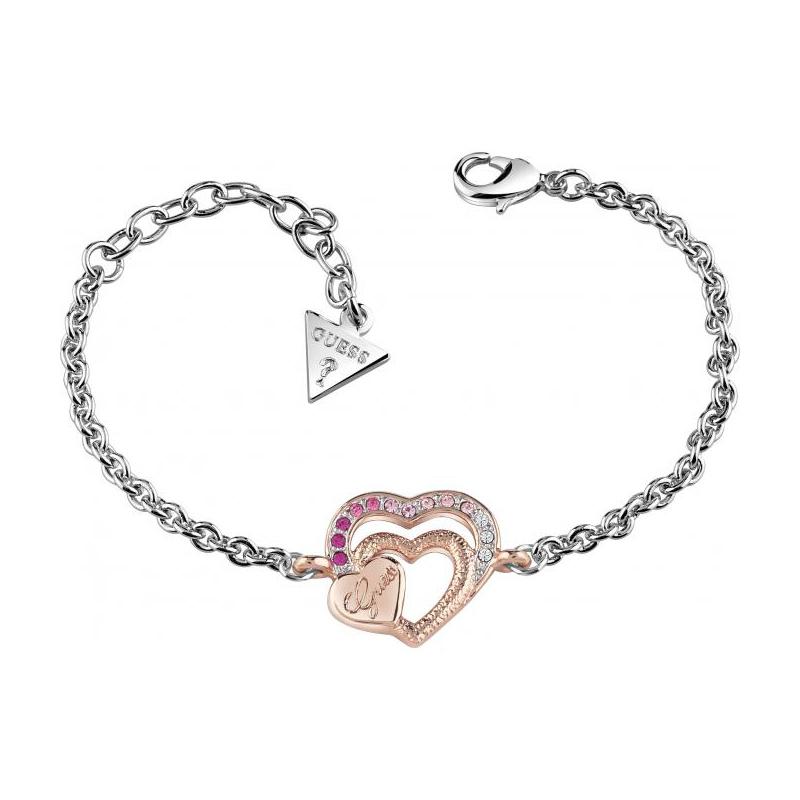bracelet guess be my valentine argent et dor rose ubb83092 s pour femme. Black Bedroom Furniture Sets. Home Design Ideas