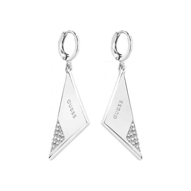 dernière conception Nouvelles Arrivées faire les courses pour Boucles d'oreilles Guess Revers triangle argenté UBE83087