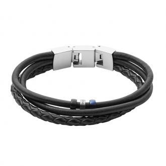 Bracelet Homme Fossil Vintage casual multi-rangs noir JF02634998