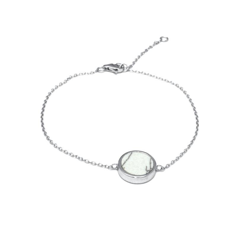 Bracelet Silver Pop motif rond en Argent 925/000 et Howlite