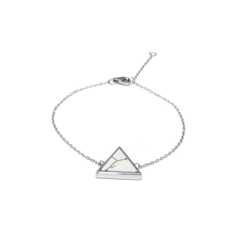 Bracelet Silver Pop motif triangle en Argent 925/000 et Howlite