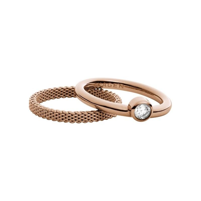 Bague Skagen Elin deux anneau en acier doré rose SKJ0852791