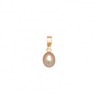 Pendentif Carador perle teintée rose 6 mm en or jaune 375/000