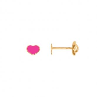 Boucles d'oreilles Carador coeur rose or jaune 375/000, laque