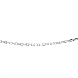 Chaine Carador maille forçat diamantée 0,1 mm en or blanc 375/000, longueur 40 cm