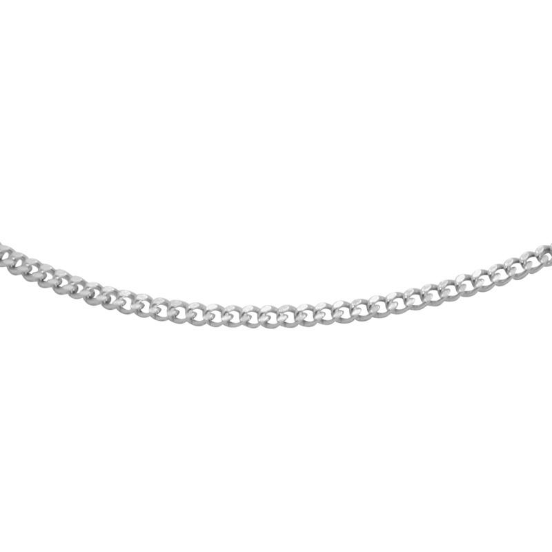 Chaine Carador maille gourmette diamantée 0,8 mm en or blanc 375/000, longueur 45 mm