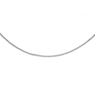 Chaine Carador maille forçat diamantée or blanc 375/000, longueur 45 cm