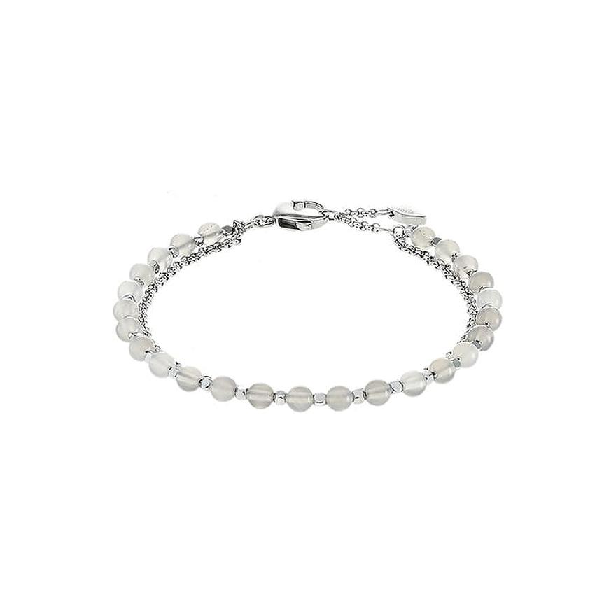bracelet femme fossil double rang perle en acier argent ja6865040 pour. Black Bedroom Furniture Sets. Home Design Ideas