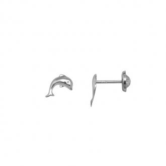 Boucles d'oreilles  Carador dauphin en or blanc 375/000