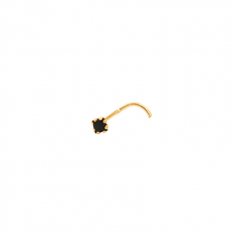 Bijou de nez Carador or jaune 375/000, oxyde de zirconium noir