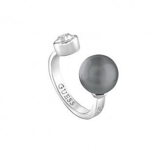 Bague ouverte Guess acier, crisral et perle grise UBR82021-54
