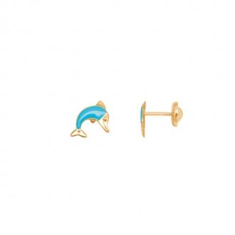 Boucles d'oreilles Carador Dauphin en or jaune 375/000 et laque bleue