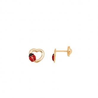 Boucles d'oreilles Carador coeur avec coccinelle en or jaune 375/000