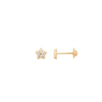 Boucles d'oreilles enfant Carador étoile or jaune 375/000 et oxydes de zirconium