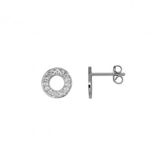 Boucles d'oreilles cercles serties d'oxydes de zirconium en argent 925/000
