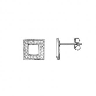Boucles d'oreilles carrées serties d'oxydes de zirconium en argent 925/000